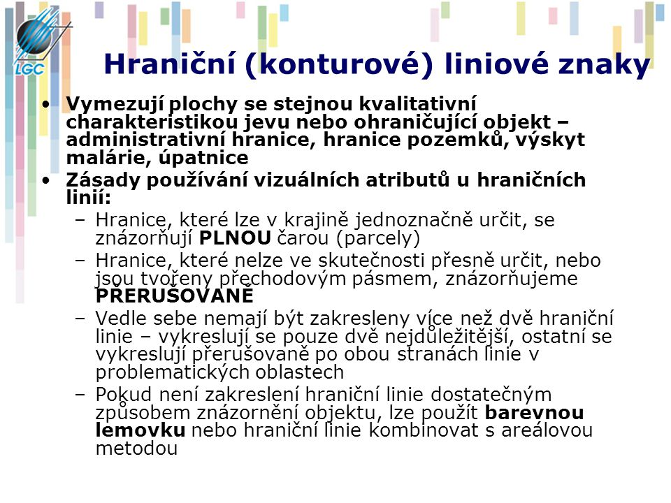 Hraniční (konturové) liniové znaky