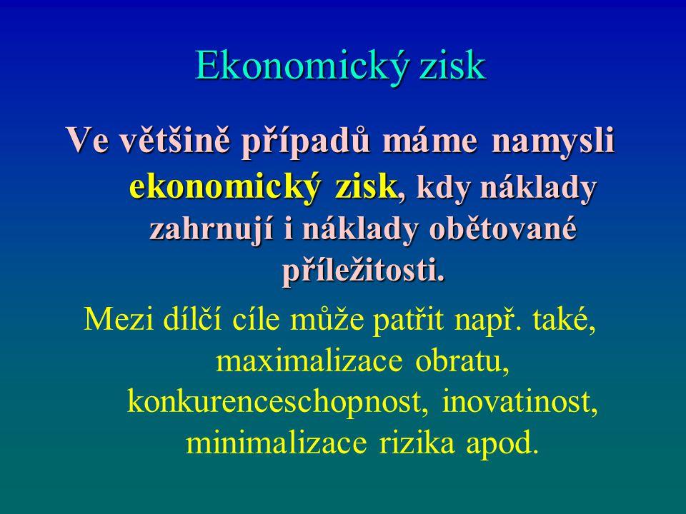 Ekonomický zisk Ve většině případů máme namysli ekonomický zisk, kdy náklady zahrnují i náklady obětované příležitosti.