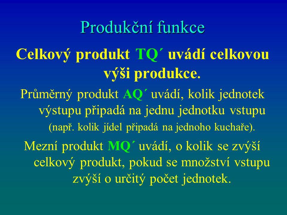 Celkový produkt TQ´ uvádí celkovou výši produkce.