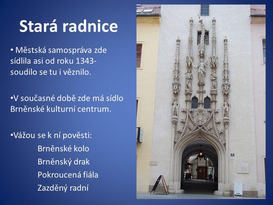 Stará radnice Městská samospráva zde sídlila asi od roku 1343- soudilo se tu i věznilo. V současné době zde má sídlo Brněnské kulturní centrum.