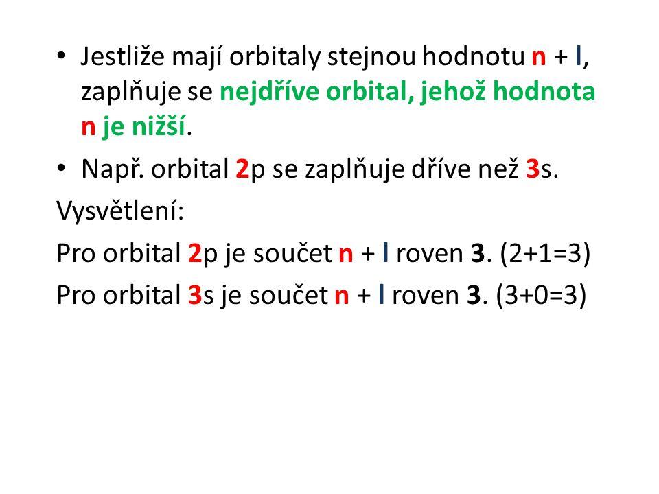 Jestliže mají orbitaly stejnou hodnotu n + l, zaplňuje se nejdříve orbital, jehož hodnota n je nižší.