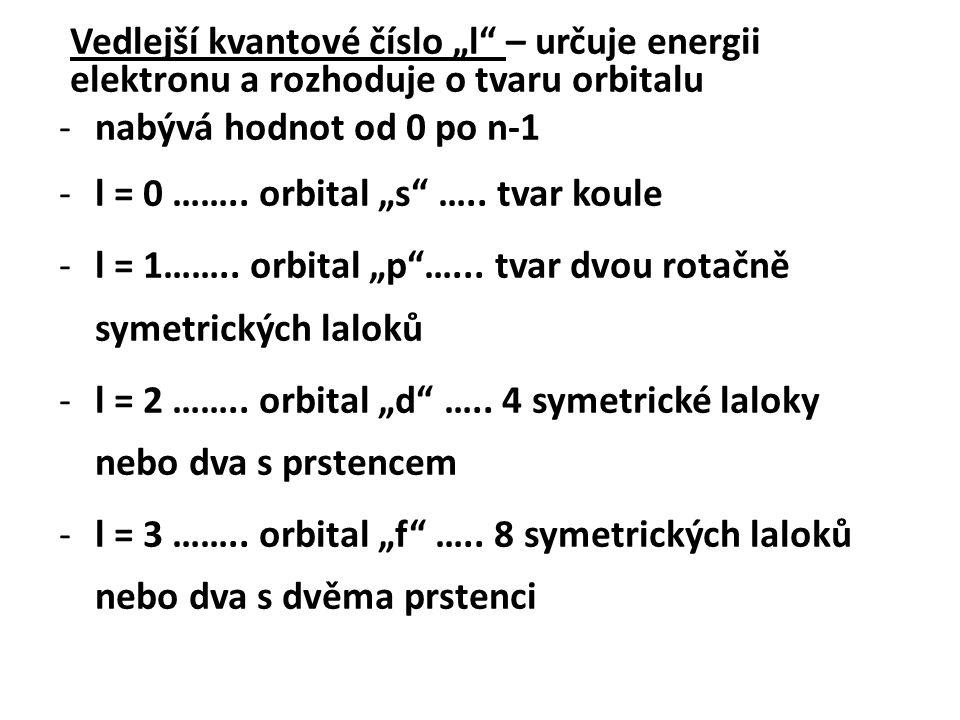 """Vedlejší kvantové číslo """"l – určuje energii elektronu a rozhoduje o tvaru orbitalu"""