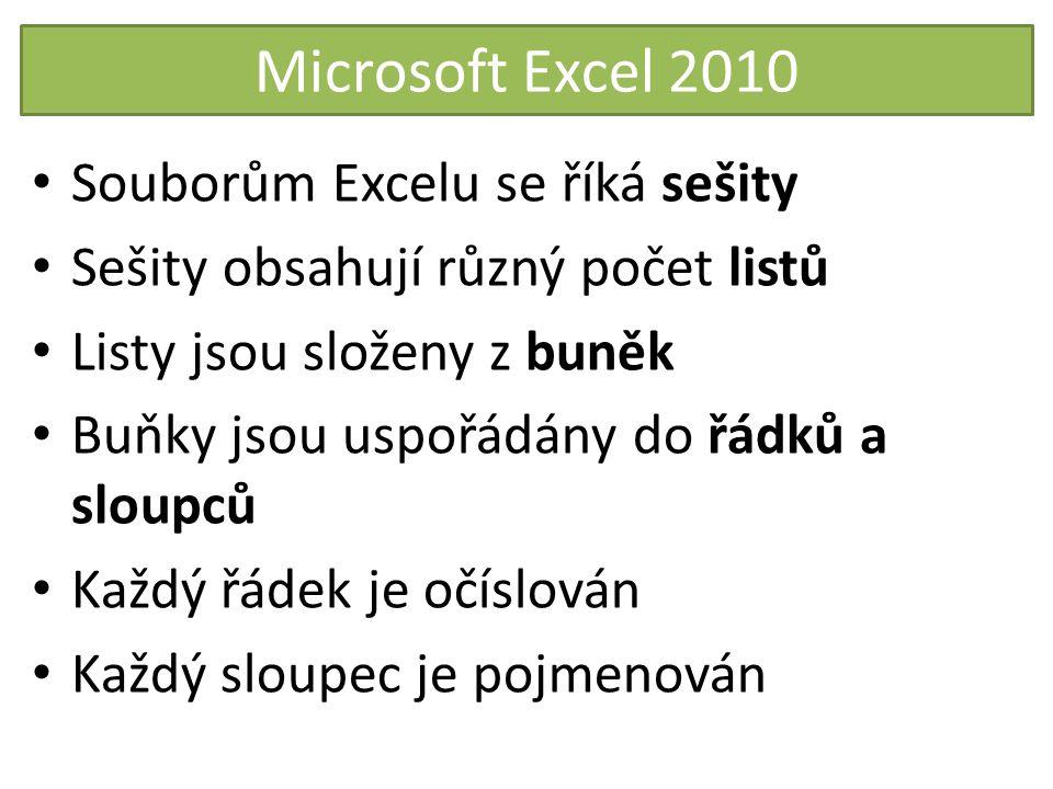 Microsoft Excel 2010 Souborům Excelu se říká sešity