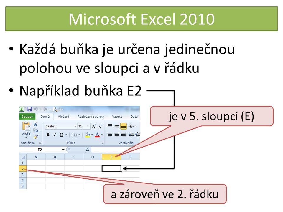 Microsoft Excel 2010 Každá buňka je určena jedinečnou polohou ve sloupci a v řádku. Například buňka E2.