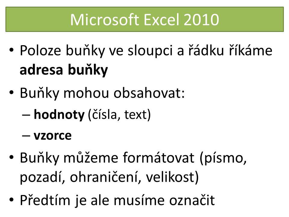 Microsoft Excel 2010 Poloze buňky ve sloupci a řádku říkáme adresa buňky. Buňky mohou obsahovat: hodnoty (čísla, text)