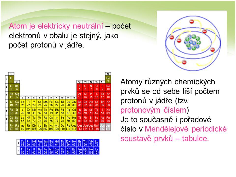 Atom je elektricky neutrální – počet elektronů v obalu je stejný, jako počet protonů v jádře.