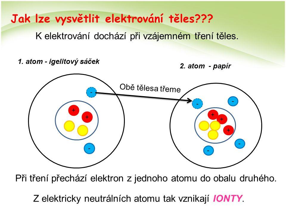 Jak lze vysvětlit elektrování těles