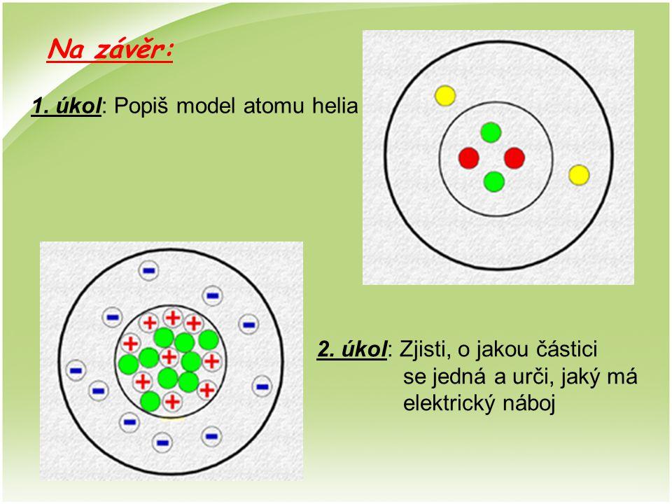 Na závěr: 1. úkol: Popiš model atomu helia