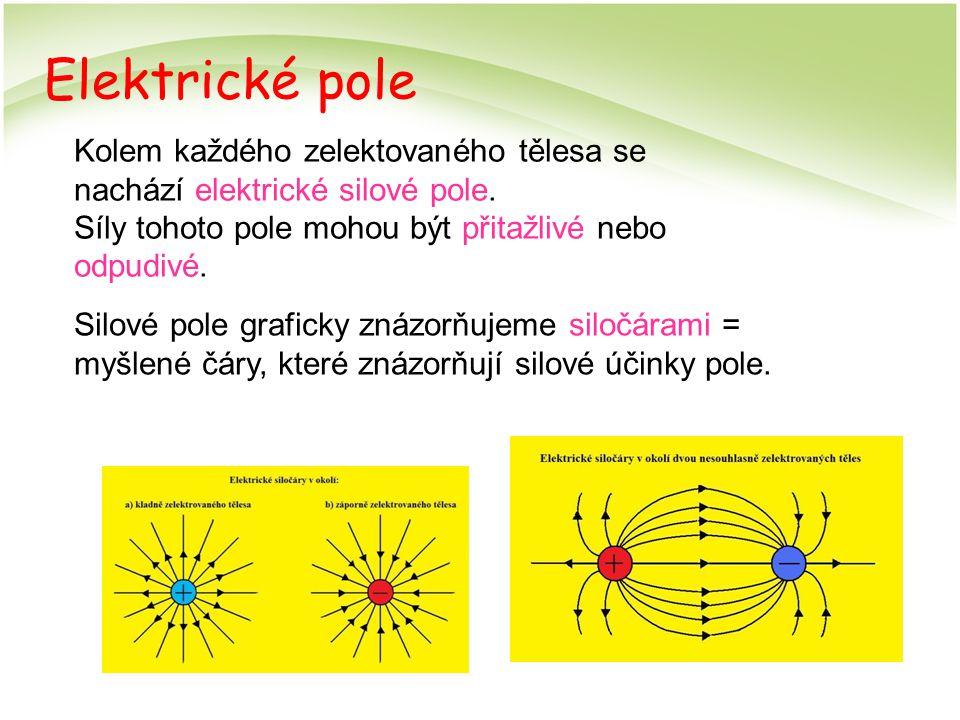 Elektrické pole Kolem každého zelektovaného tělesa se nachází elektrické silové pole. Síly tohoto pole mohou být přitažlivé nebo odpudivé.