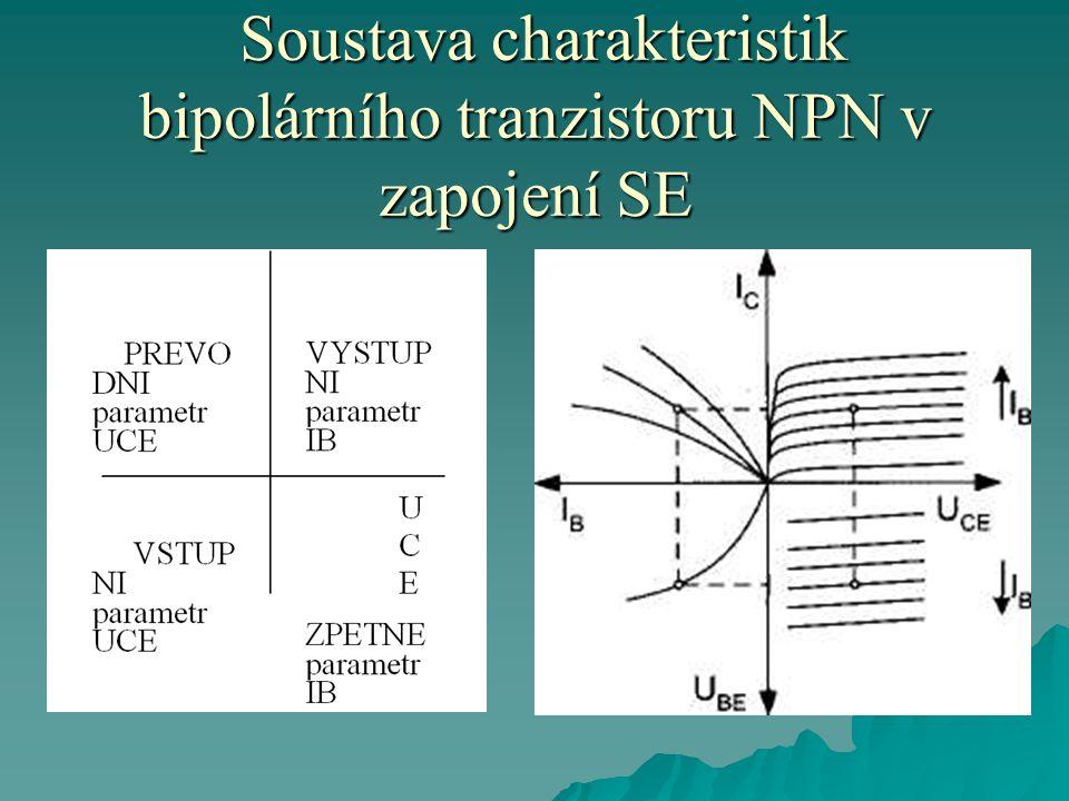 Soustava charakteristik bipolárního tranzistoru NPN v zapojení SE