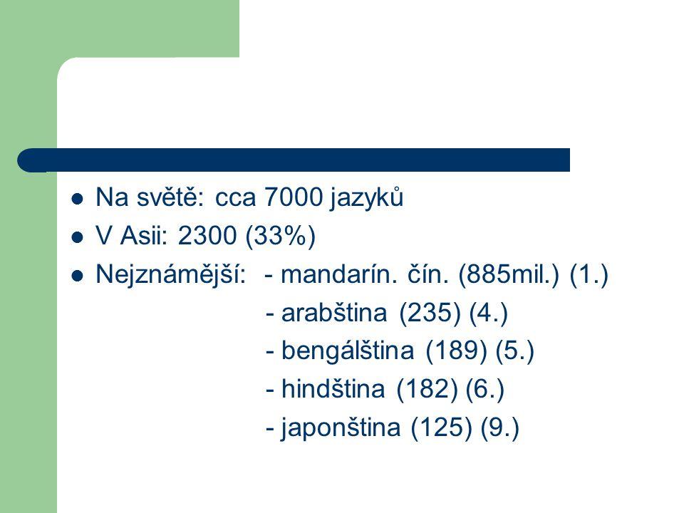 Na světě: cca 7000 jazyků V Asii: 2300 (33%) Nejznámější: - mandarín. čín. (885mil.) (1.) - arabština (235) (4.)