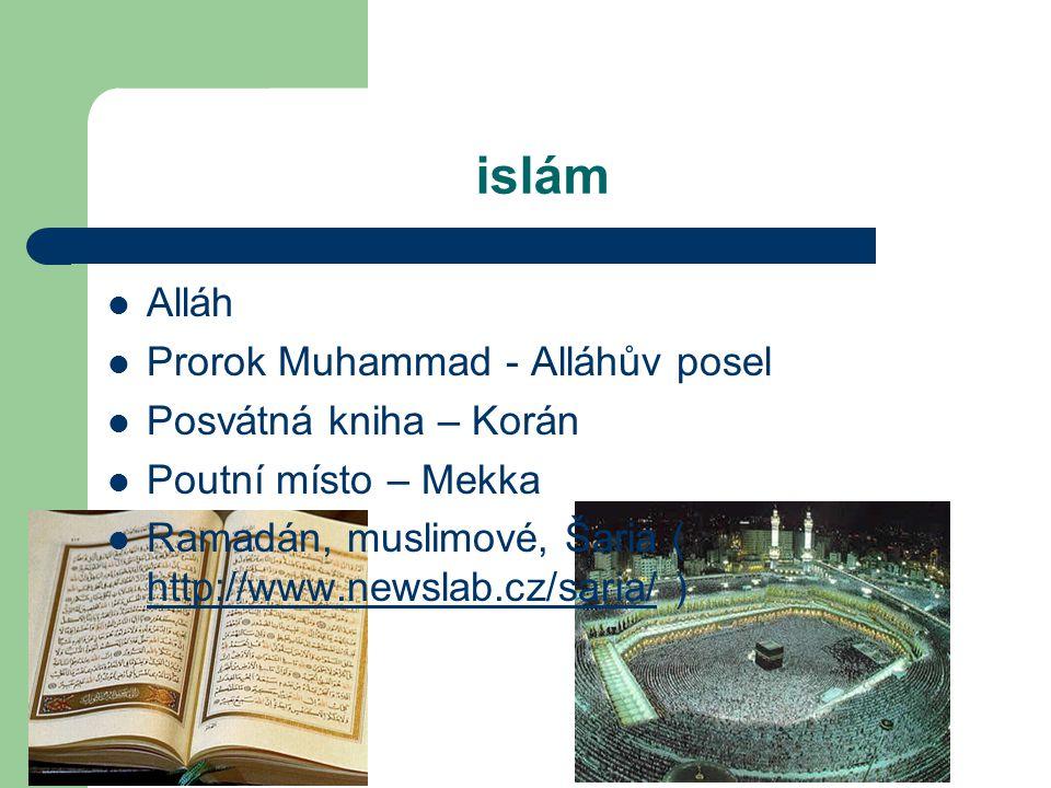 islám Alláh Prorok Muhammad - Alláhův posel Posvátná kniha – Korán
