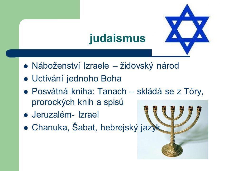 judaismus Náboženství Izraele – židovský národ Uctívání jednoho Boha