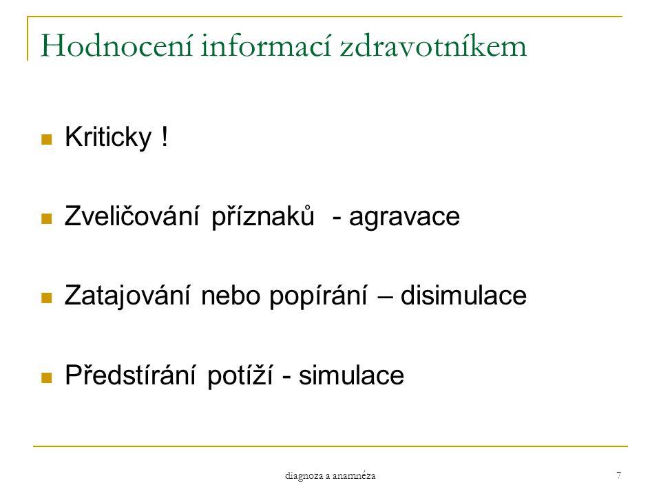 Hodnocení informací zdravotníkem