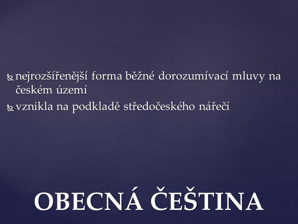 nejrozšířenější forma běžné dorozumívací mluvy na českém území