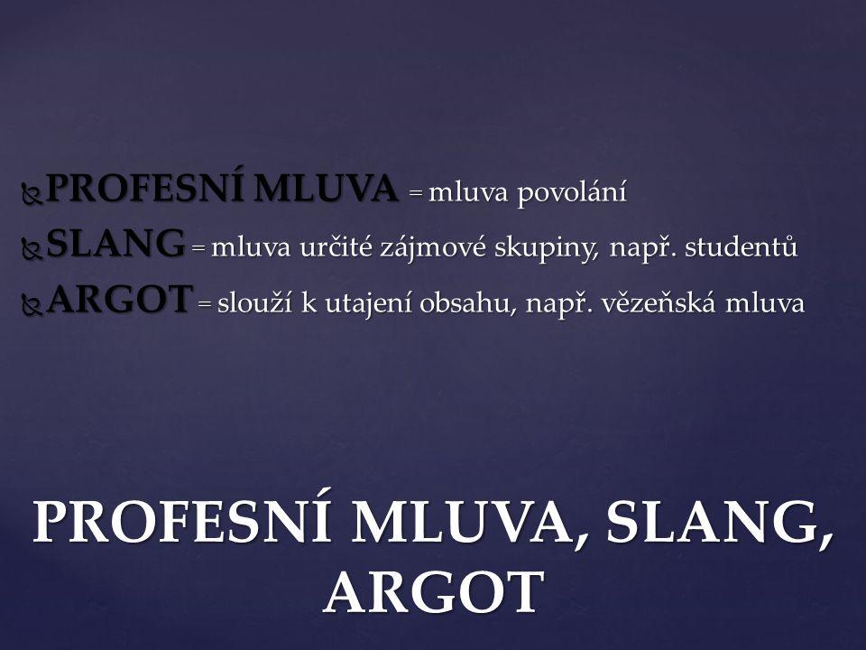 PROFESNÍ MLUVA, SLANG, ARGOT