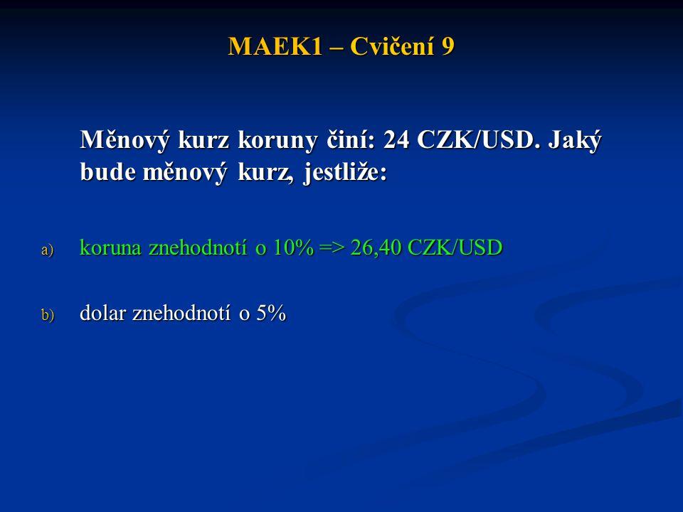 Měnový kurz koruny činí: 24 CZK/USD. Jaký bude měnový kurz, jestliže: