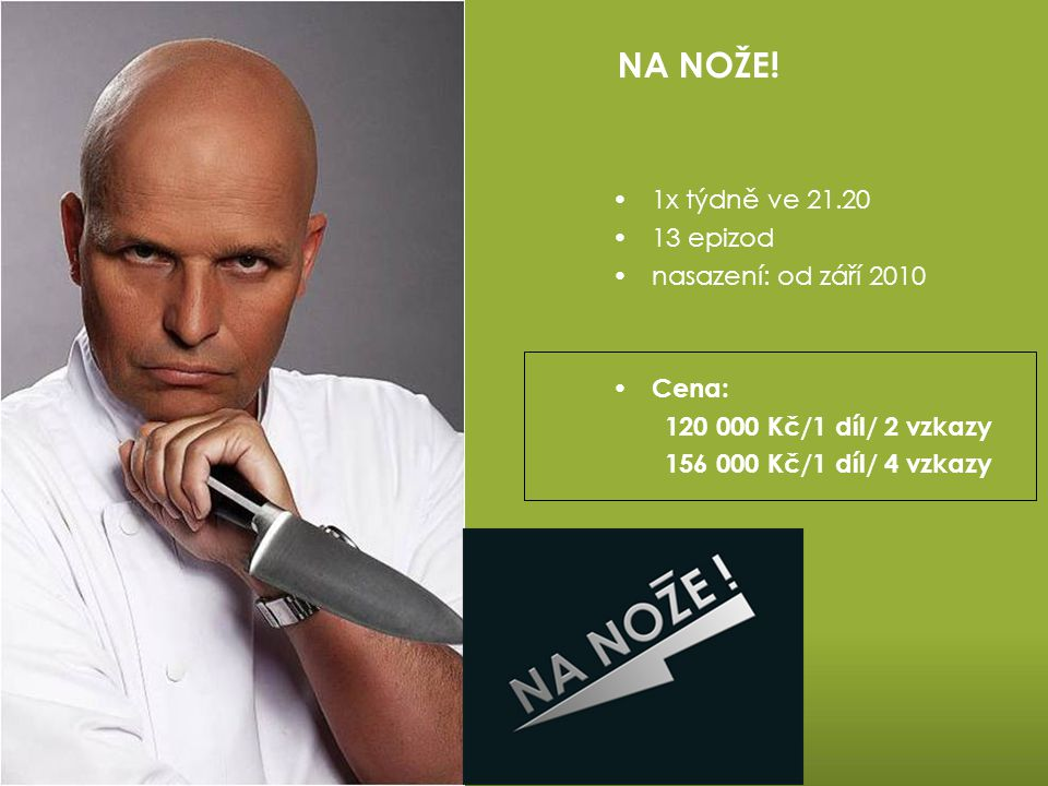 NA NOŽE! 1x týdně ve 21.20 13 epizod nasazení: od září 2010 Cena: