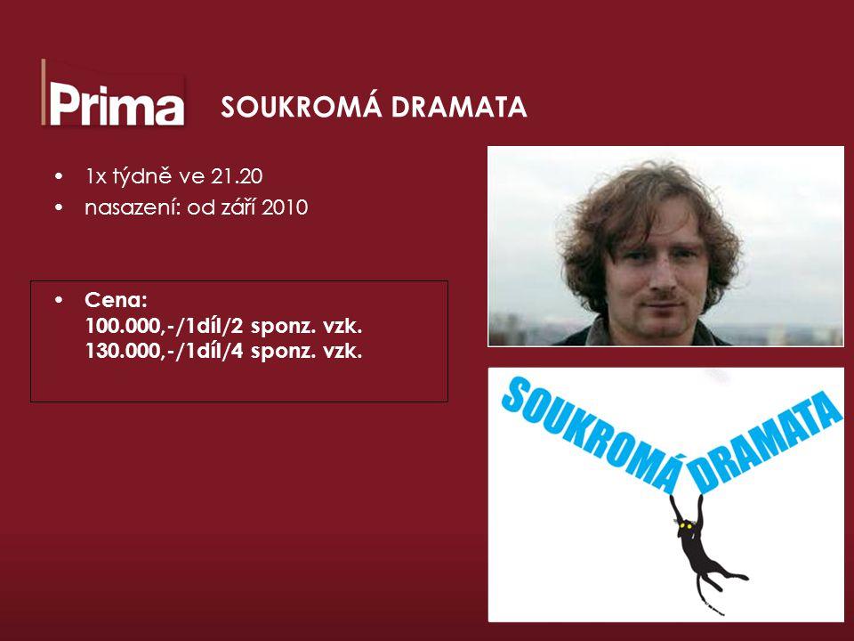 SOUKROMÁ DRAMATA 1x týdně ve 21.20 nasazení: od září 2010 Cena: