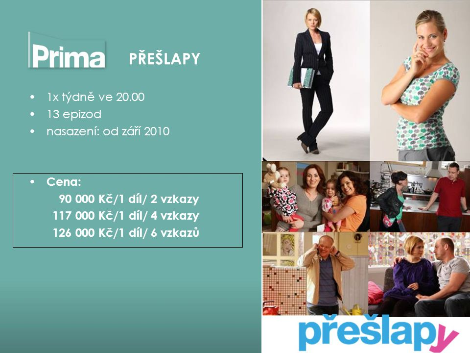 PŘEŠLAPY 1x týdně ve 20.00 13 epizod nasazení: od září 2010 Cena: