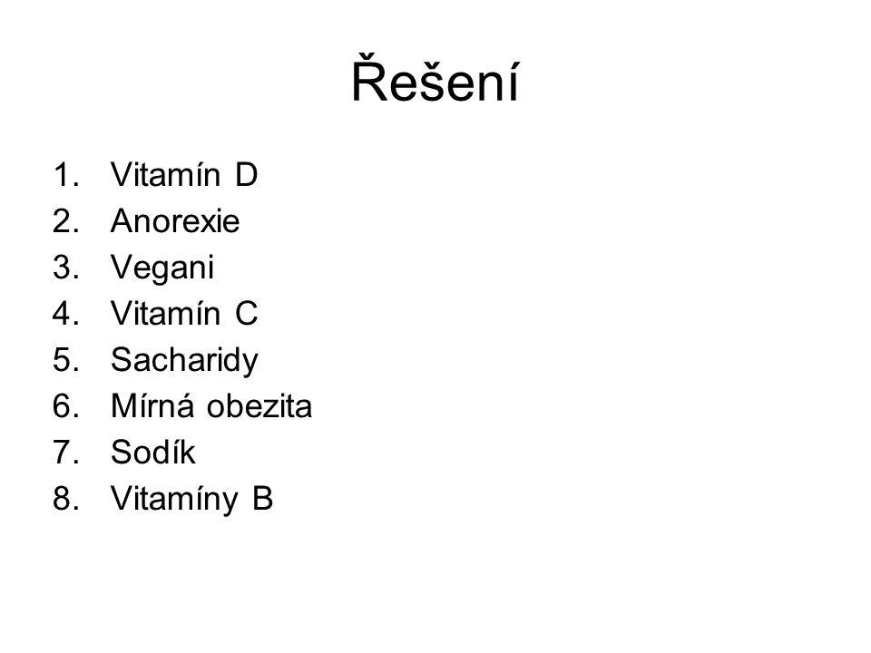Řešení Vitamín D Anorexie Vegani Vitamín C Sacharidy Mírná obezita