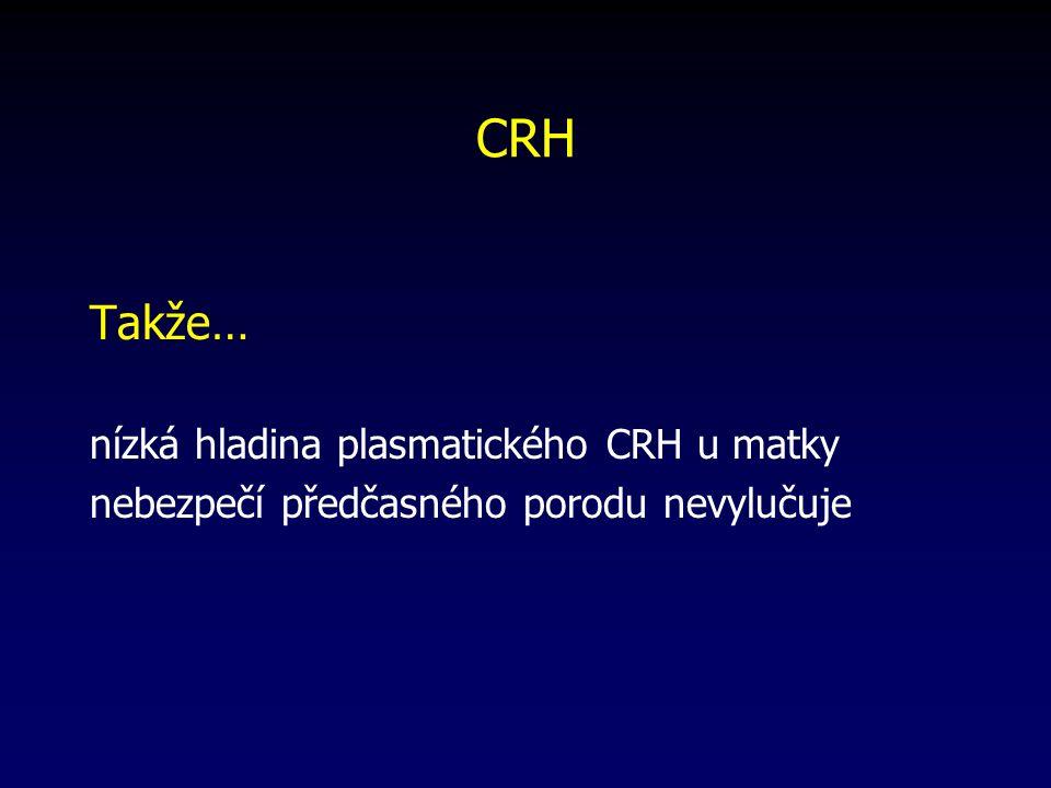 CRH Takže… nízká hladina plasmatického CRH u matky