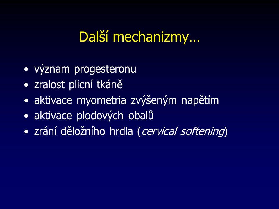 Další mechanizmy… význam progesteronu zralost plicní tkáně