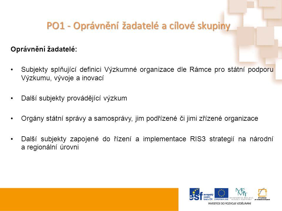 PO1 - Oprávnění žadatelé a cílové skupiny