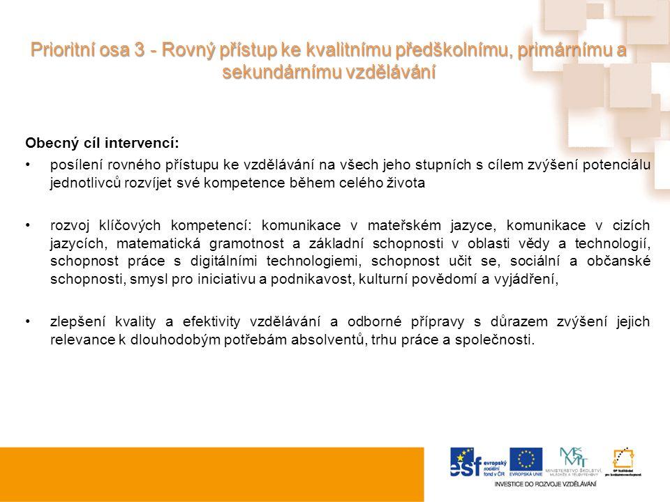 Prioritní osa 3 - Rovný přístup ke kvalitnímu předškolnímu, primárnímu a sekundárnímu vzdělávání
