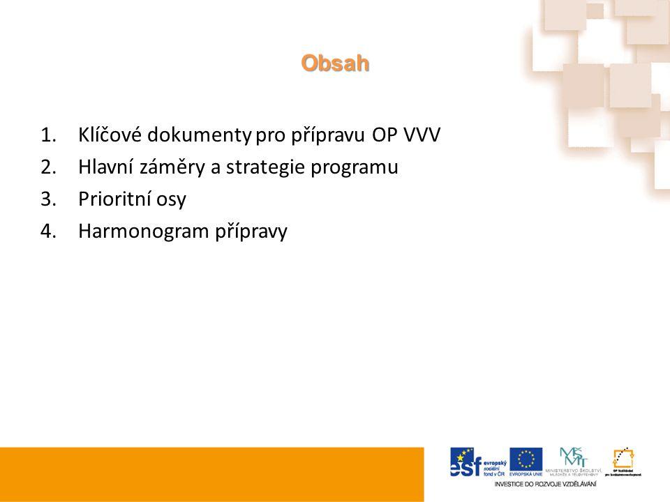 Obsah Klíčové dokumenty pro přípravu OP VVV. Hlavní záměry a strategie programu.