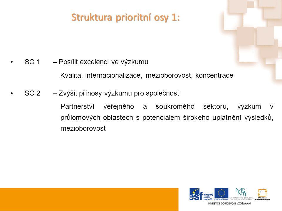 Struktura prioritní osy 1:
