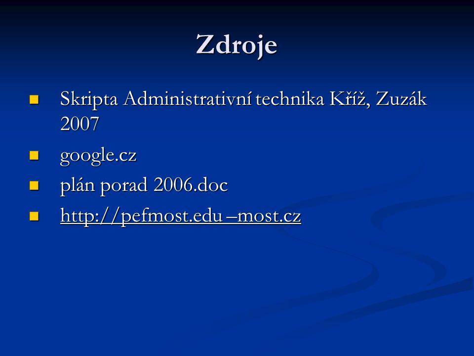 Zdroje Skripta Administrativní technika Kříž, Zuzák 2007 google.cz