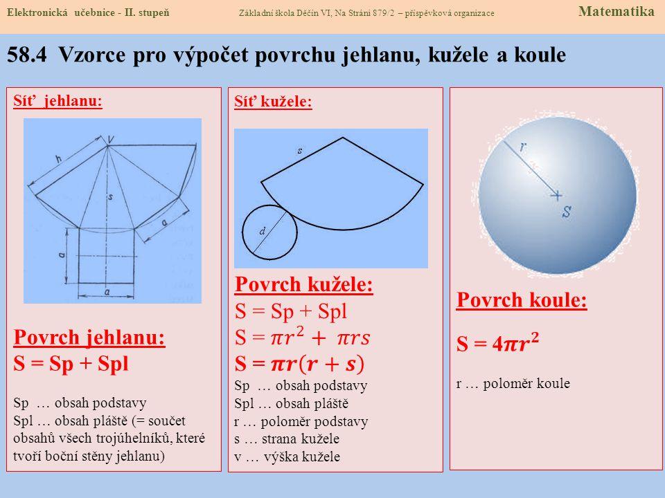 58.4 Vzorce pro výpočet povrchu jehlanu, kužele a koule