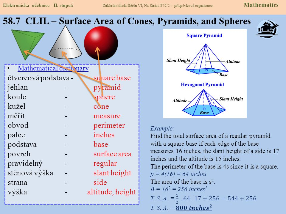 58.7 CLIL – Surface Area of Cones, Pyramids, and Spheres
