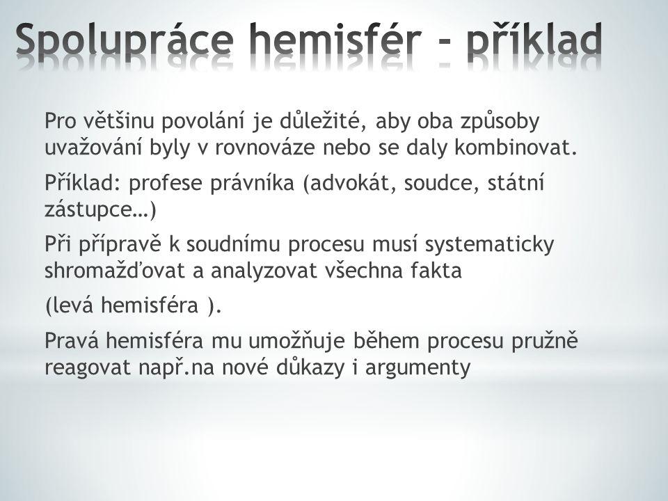 Spolupráce hemisfér - příklad
