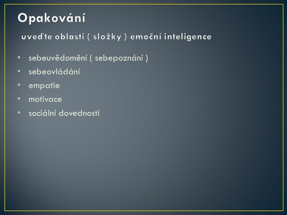 Opakování uveďte oblasti ( složky ) emoční inteligence