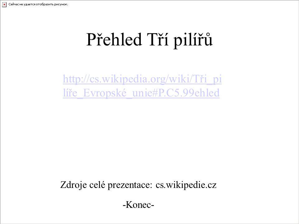 Přehled Tří pilířů http://cs.wikipedia.org/wiki/Tři_pilíře_Evropské_unie#P.C5.99ehled. Zdroje celé prezentace: cs.wikipedie.cz.