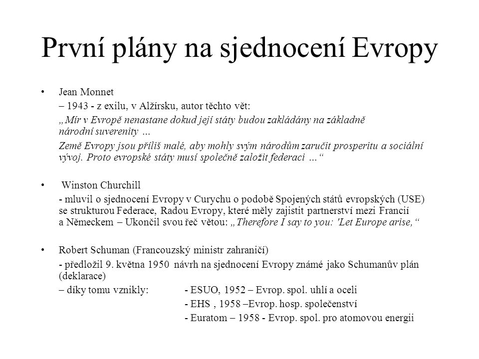 První plány na sjednocení Evropy