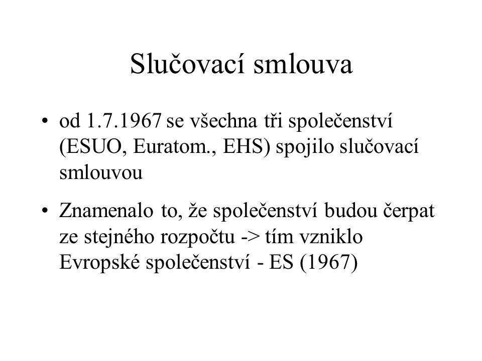 Slučovací smlouva od 1.7.1967 se všechna tři společenství (ESUO, Euratom., EHS) spojilo slučovací smlouvou.