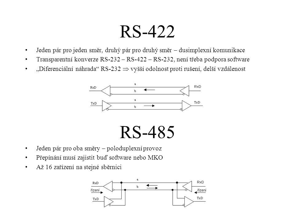 RS-422 Jeden pár pro jeden směr, druhý pár pro druhý směr – dusimplexní komunikace.