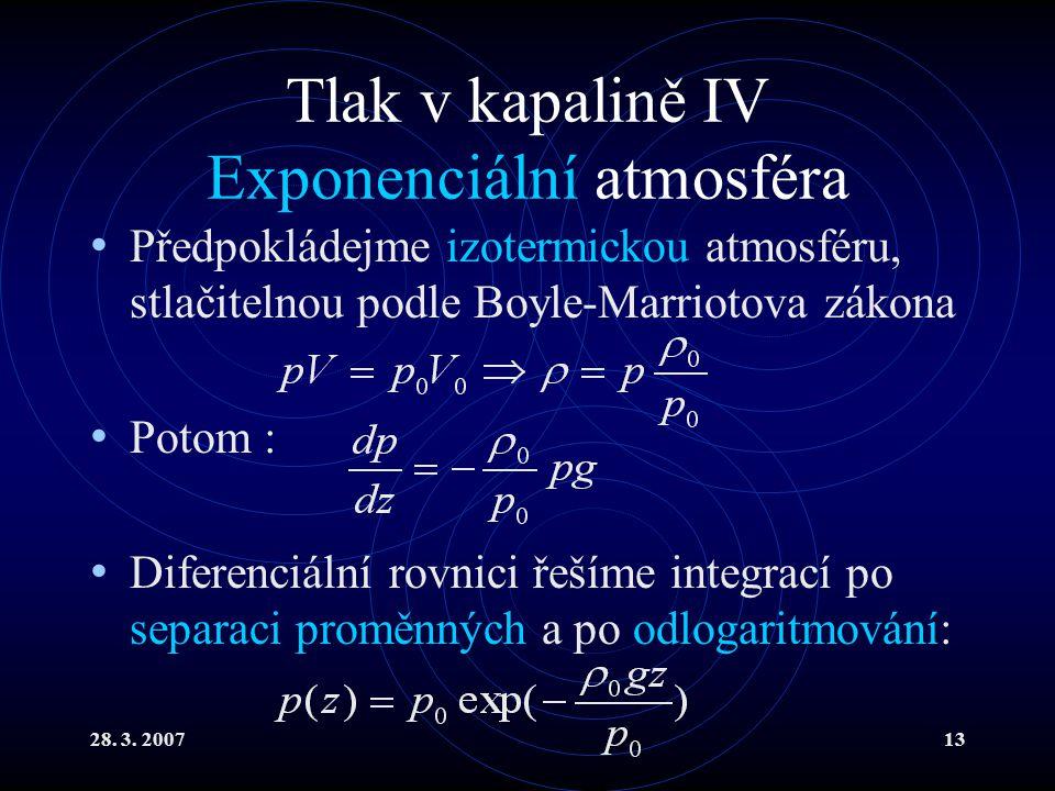 Tlak v kapalině IV Exponenciální atmosféra