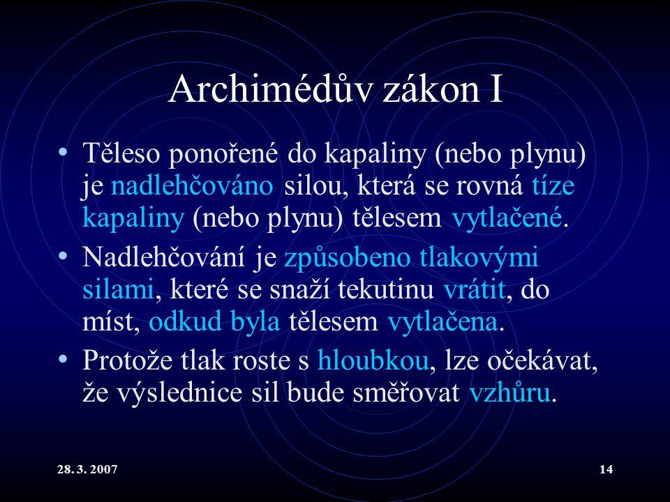 Archimédův zákon I Těleso ponořené do kapaliny (nebo plynu) je nadlehčováno silou, která se rovná tíze kapaliny (nebo plynu) tělesem vytlačené.