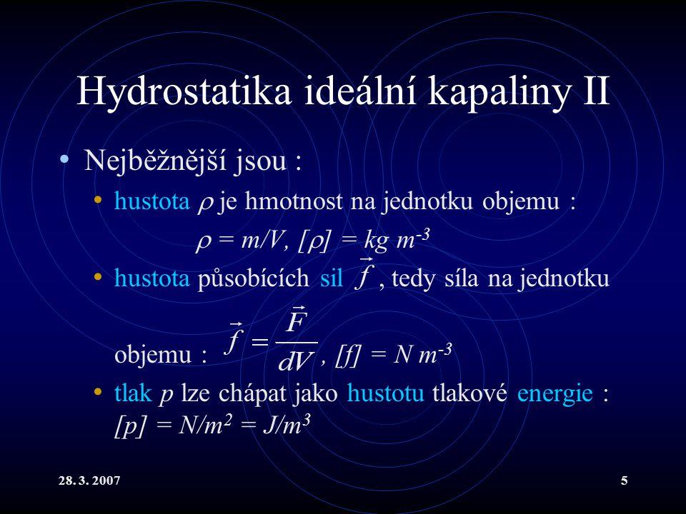 Hydrostatika ideální kapaliny II