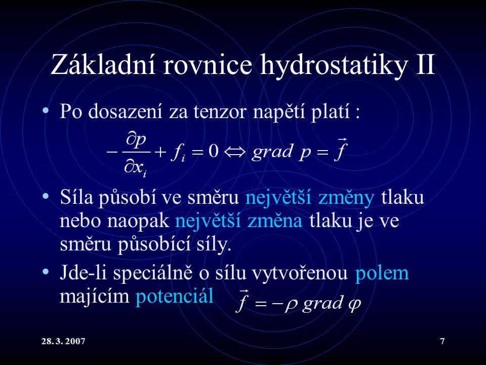 Základní rovnice hydrostatiky II