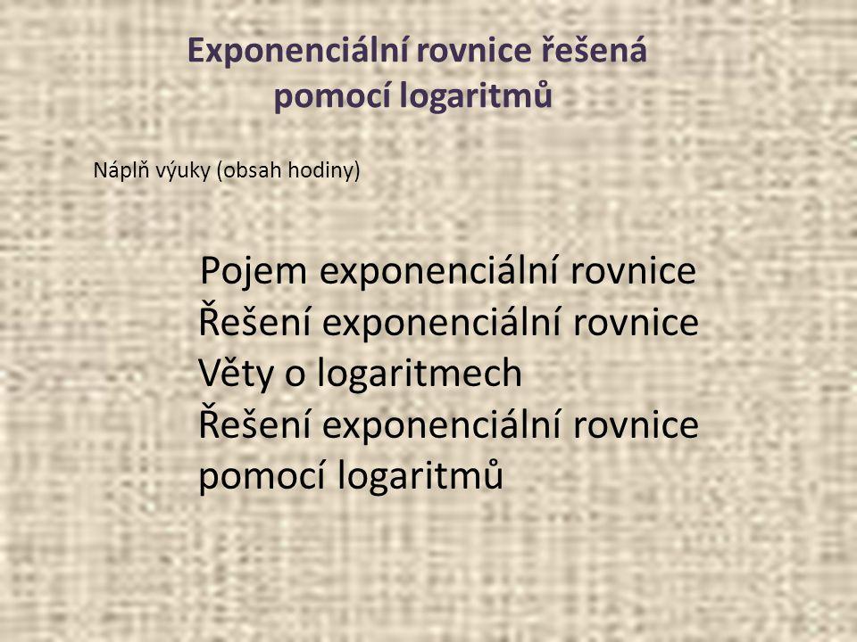 Exponenciální rovnice řešená pomocí logaritmů