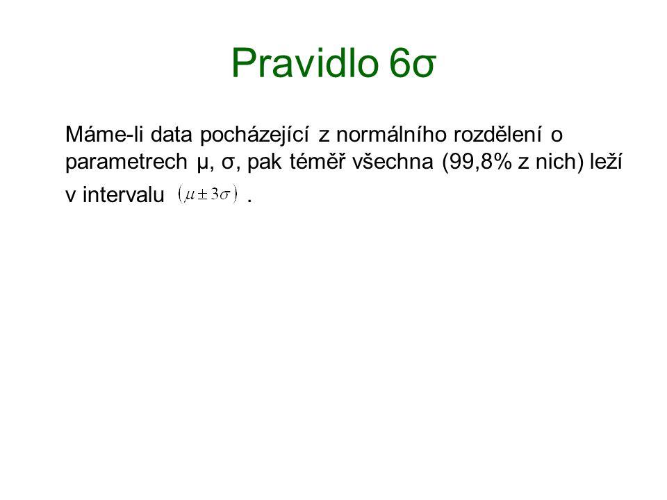 Pravidlo 6σ Máme-li data pocházející z normálního rozdělení o parametrech μ, σ, pak téměř všechna (99,8% z nich) leží v intervalu .