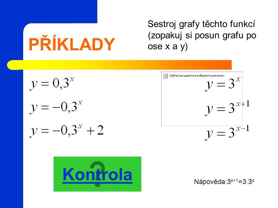 Sestroj grafy těchto funkcí (zopakuj si posun grafu po ose x a y)