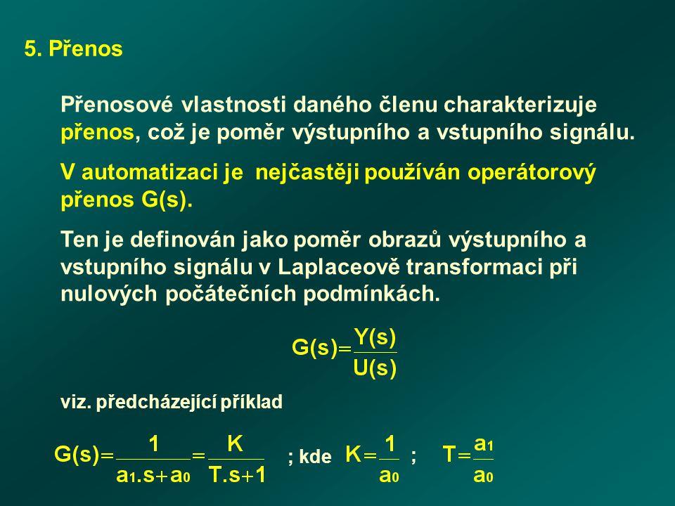V automatizaci je nejčastěji používán operátorový přenos G(s).