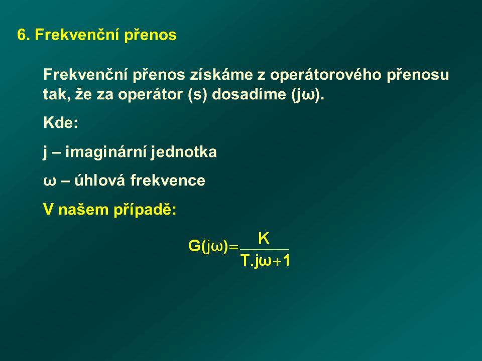 6. Frekvenční přenos Frekvenční přenos získáme z operátorového přenosu tak, že za operátor (s) dosadíme (jω).