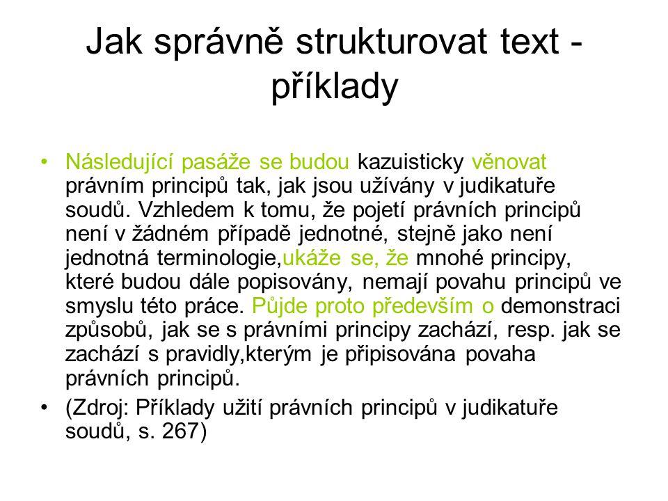 Jak správně strukturovat text - příklady